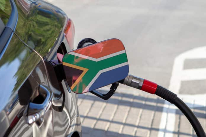 Flag of South Africa on the car's fuel tank filler flap.