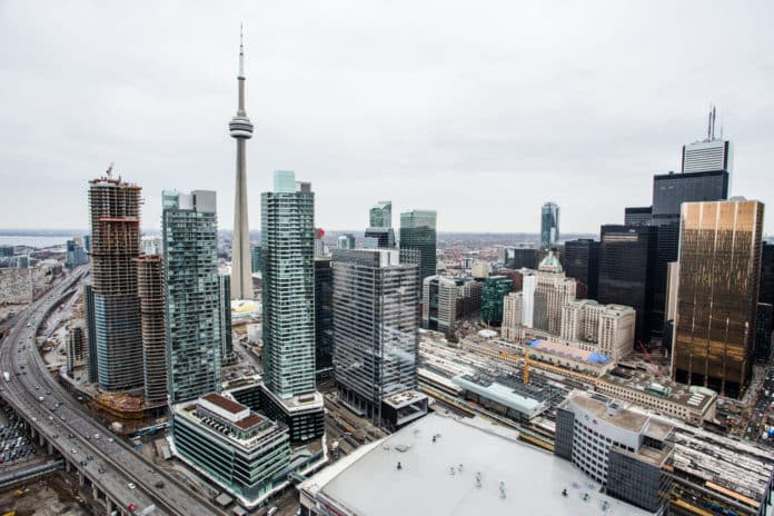 Elevated view of downtown Toronto.