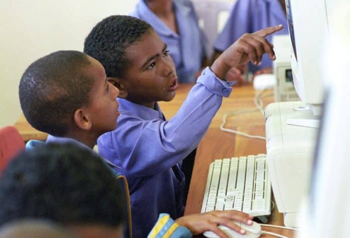 Many South African schools don't have computer labs or other digital technology.
